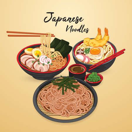 Japanese food recipe illustration vector. (Ramen Udon and Soba)