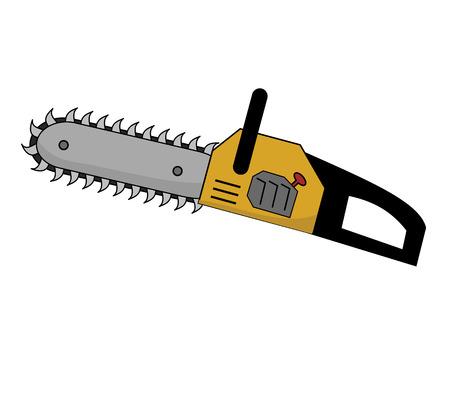 Yellow Kettensäge mit Big Scary Zähne Standard-Bild - 55583759