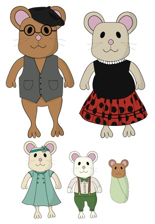 dad daughter: A cute mouse family with 5 members. They are wearing vintage style clothing. The images are hand drawn. Icluded are: a mom, dad, daughter, son and baby mouse. Illustration