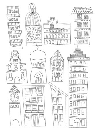 doodled: A set of 11 hand drawn or doodled city buildings