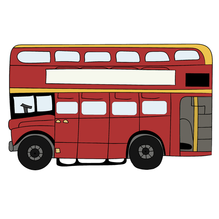 double decker bus: British Red Double Decker Bus Cartoon