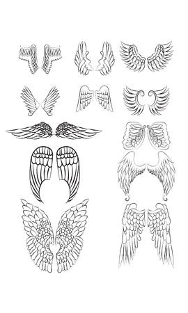Set Angel Wings-Linie Kunst ohne Füllung Standard-Bild - 55583793
