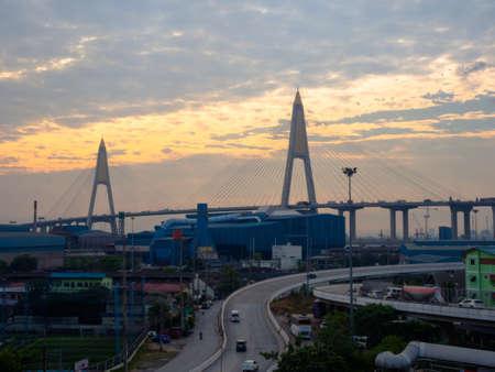 Sunrise over Kanchanaphisek Bridge crossing the Chao Phraya river