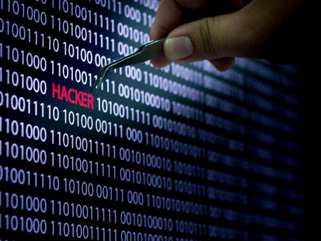 Computer screen shot with binary code and hacker text, great concept for technology computer and online security Stock Photo - 78483849