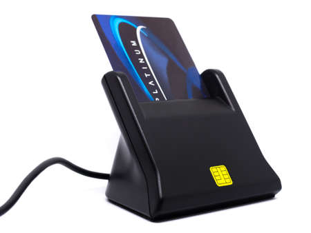 Credit card reader isolated,Scammer hacker concept