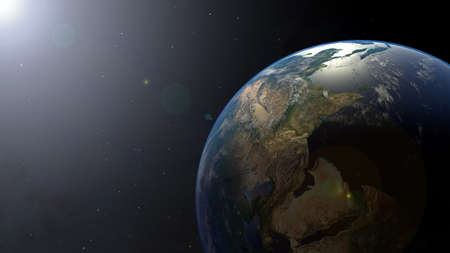 Earth on Space with Sun light and Star,Planet galaxy with copy space
