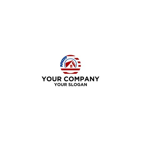 american circle house logo design Stock Illustratie
