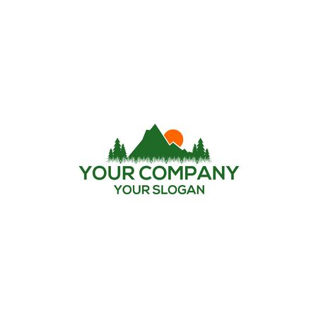 Mountain sun grass logo nature vector image Illustration