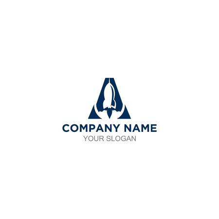 rocket in letter a logo design Ilustração