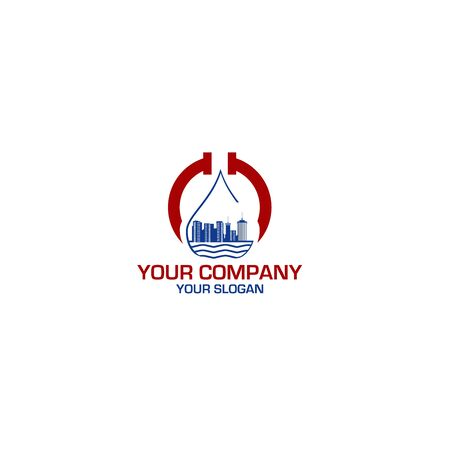 City Plumbing Services Logo Design Vector Standard-Bild - 128798045