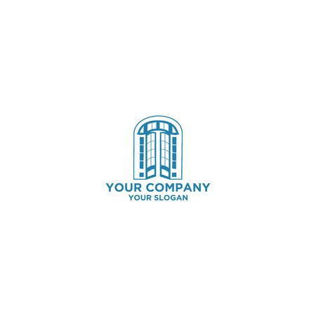 Classic French Door Glass Logo Design Vector