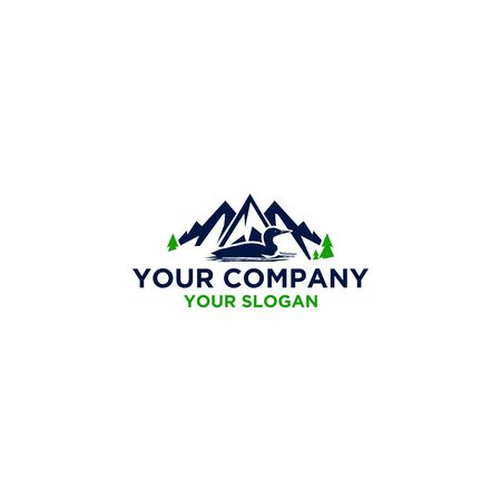 Common Loon in Mountain Logo Design Vector Ilustração