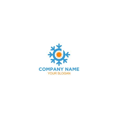 D Heating and Air Conditioner Logo Design Vector