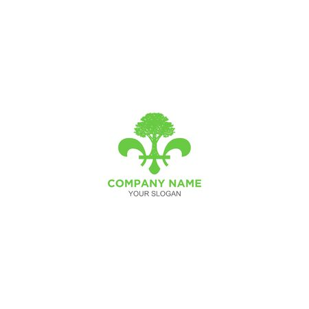 Fleur de lys tree service logo design vector Illustration