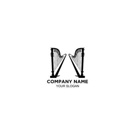 Gate Harp Logo Design Vector