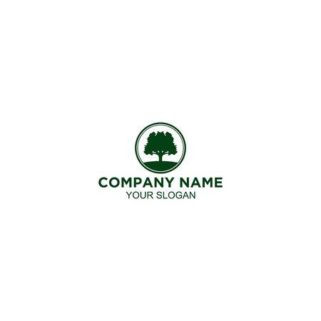 Green Old Oak Logo Design Vector Illustration