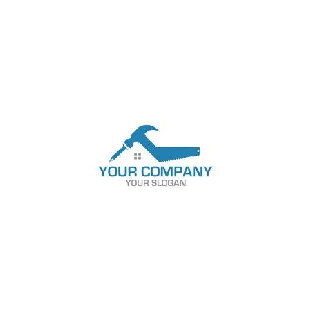 Hammer & Saw Construction Logo Design Vector