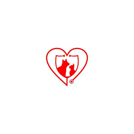 Heart Animal Hospital and Care center logo design vector