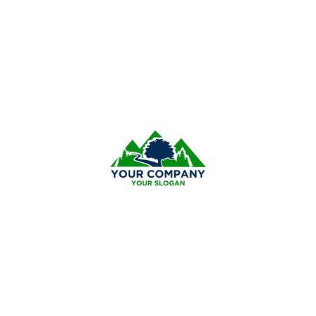 Mountain Oak Logo Design Vector