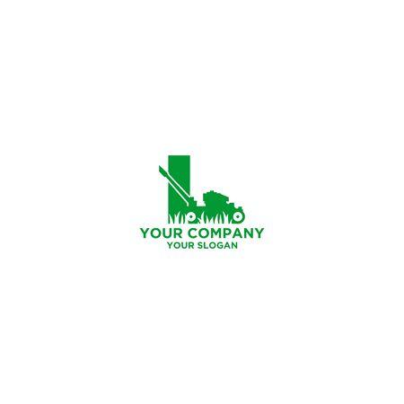 Mow Landscape Logo Design Vector