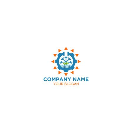 Nature Water Air Conditioner and Heating Logo Design Vector