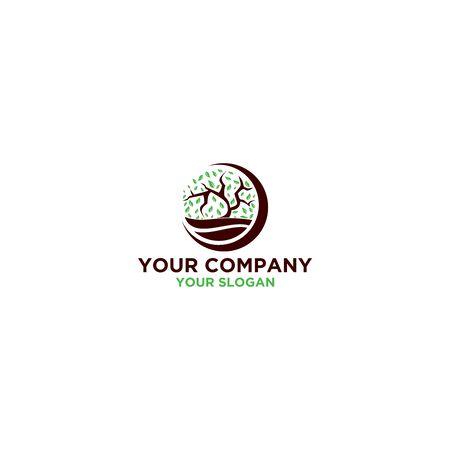 Tree Lake Logo Design Vector Ilustração