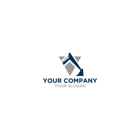 V Excavator Logo Design Vector