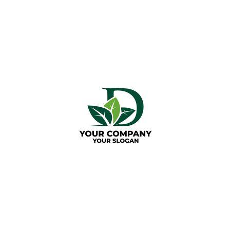 D leaf landscape logo design vector Illustration