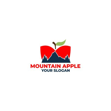 mountain apple logo design vector