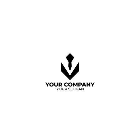 V Tie Man Logo Design Vector