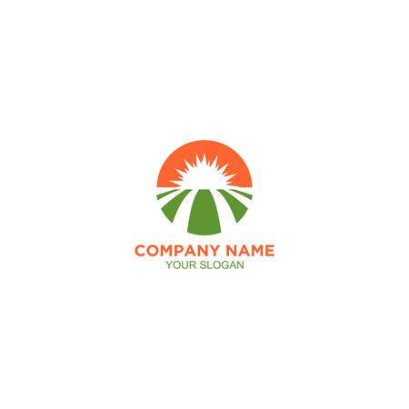 Sun Farm Land Logo Design Vector