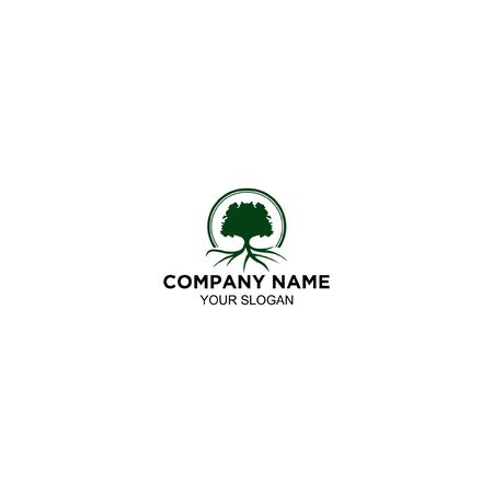 oak tree with roots logo design vector