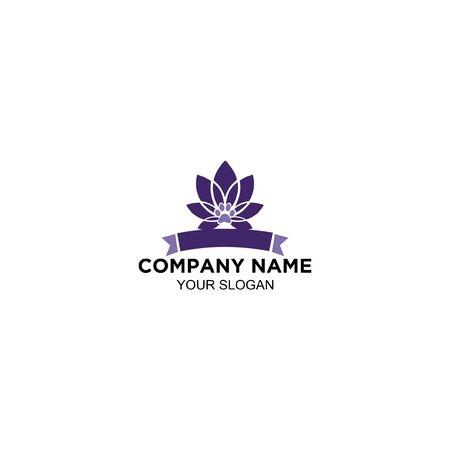 purple lotus flower logo design vector Standard-Bild - 129166255