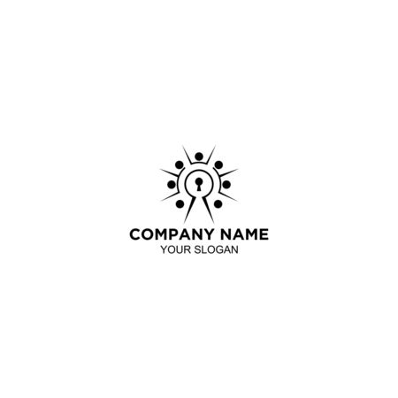 Community Key Logo Design Vector
