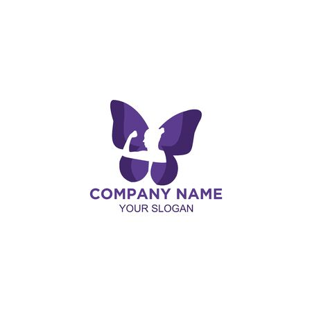women fitness butterfly logo design vector