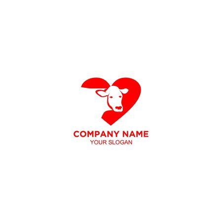 love cow logo design vector