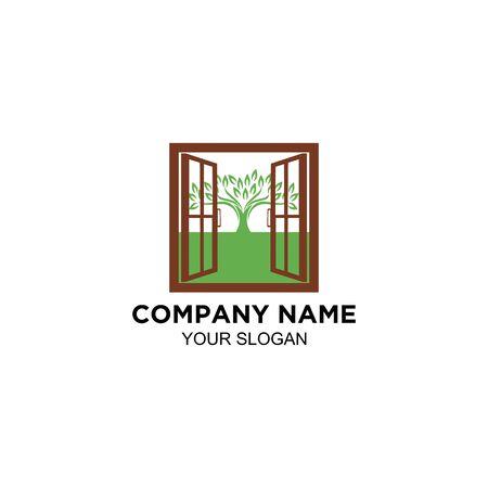 open window and tree logo design vector Ilustração