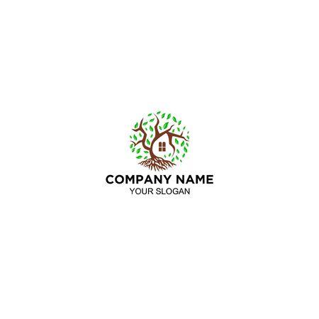 tree home logo design vector Foto de archivo - 129141966