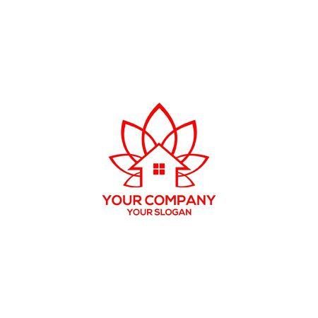 Lotus Home Logo Design Stock Vector Standard-Bild - 129143011