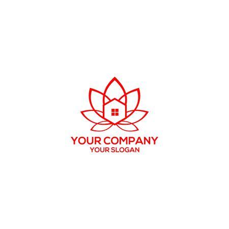 Lotus home logo design vector Standard-Bild - 129143174