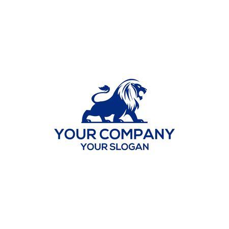 blue lion logo vector design template