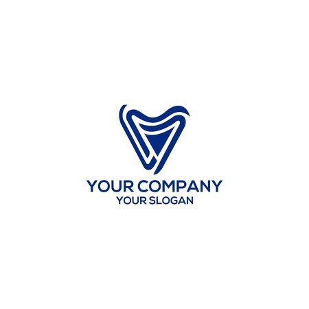 Dental V Logo Design Vector Banque d'images - 129150202