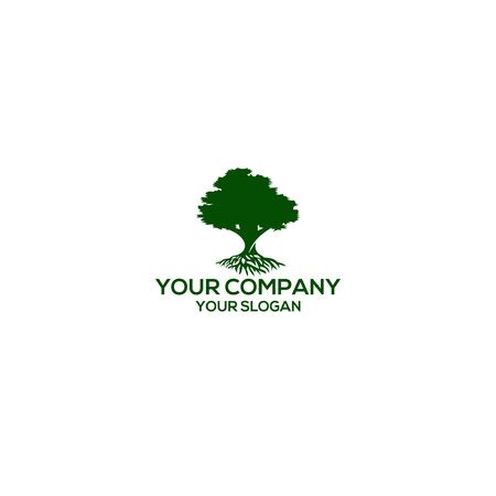 oak tree with roots logo design