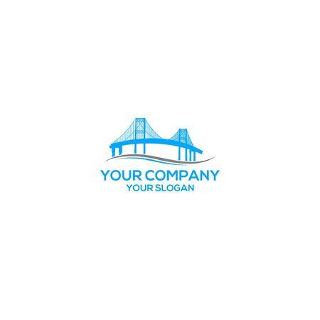 Simple Blue Brigde Logo Design  イラスト・ベクター素材