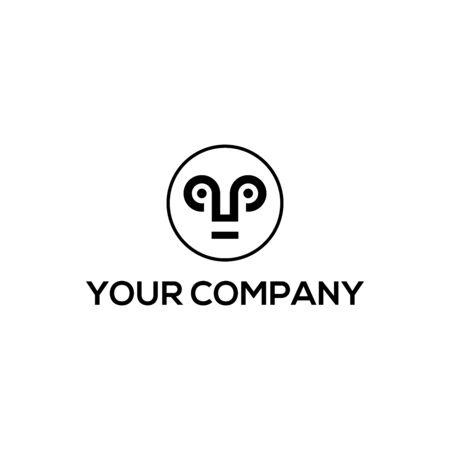 Mask in double letter P logo design