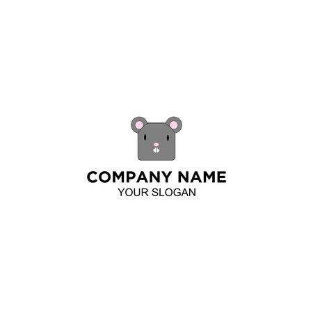 Mouse Animal Square Logo Design vector