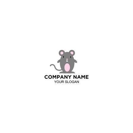Mouse Animal Cute Logo Design vector