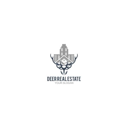 Deer Real Estate Logo Design Vector