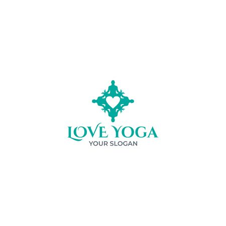 Love Yoga Logo Design Vector