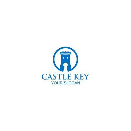Castle Key Logo Design Vector